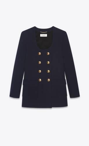 giacca lunga con collo a u in jersey di lana