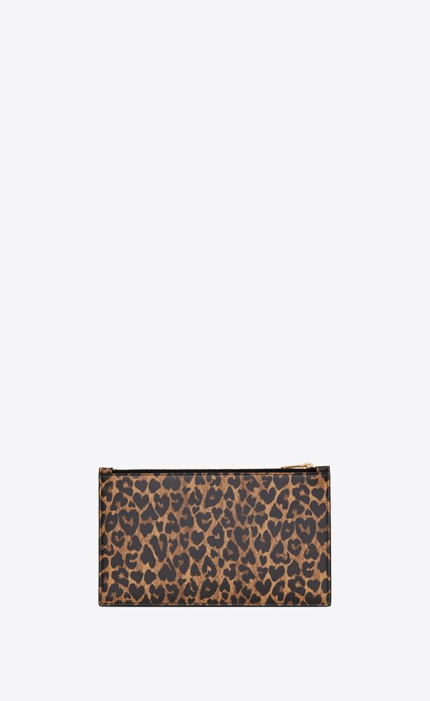 monogram bill pouch in heart-shaped leopard-print leather