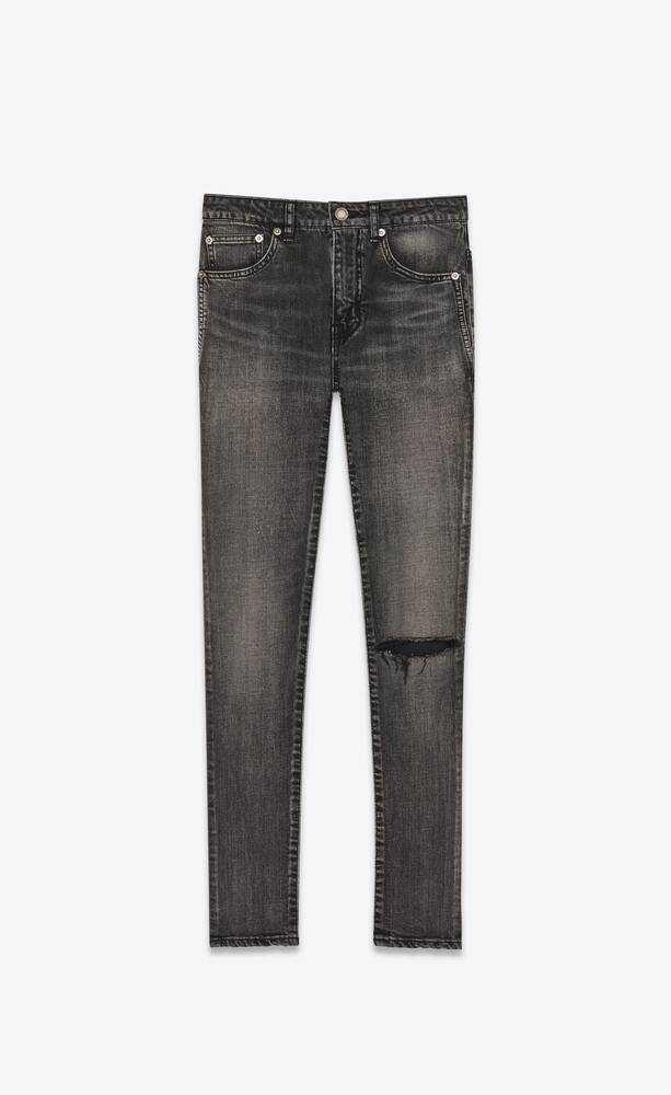 mid-rise skinny jeans in medium carbon stretch denim