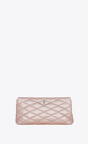 sade puffer envelope clutch in lamé leather