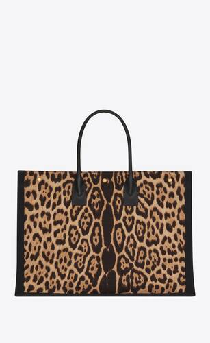 rive gauche tote bag in leopard-print canvas