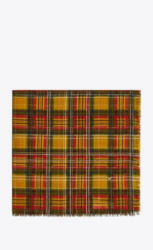 lamé check large square scarf in wool and silk jacquard