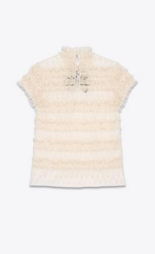 lavallière-neck frilled top in floral cotton lace