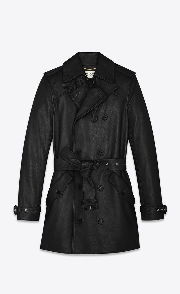 classic trench coat in shiny lambskin