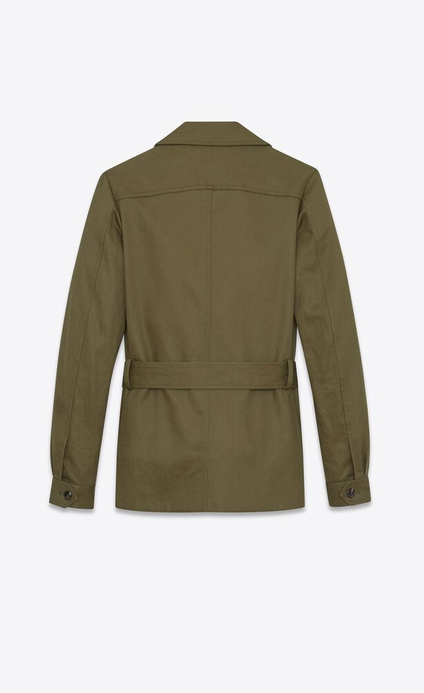 safari jacket in cotton gabardine and linen