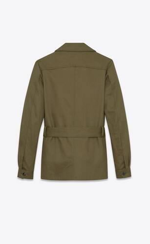 giacca safari in gabardine di cotone e lino