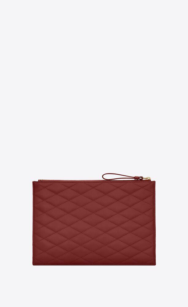 sade reißverschlusstasche aus lammleder mit quadratischer steppung