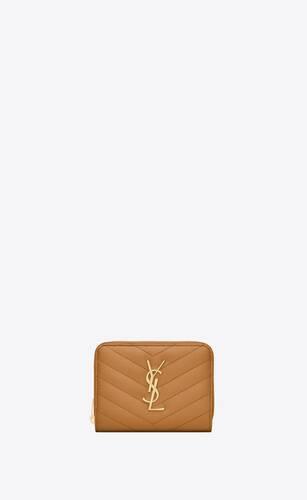 monogram portefeuille compact zippé en cuir grainé matelassé
