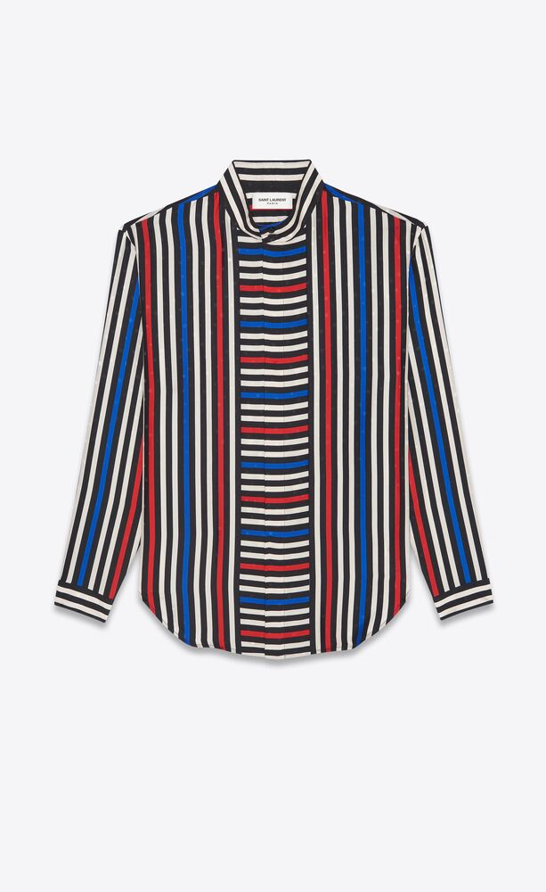 oversized shirt in matte and shiny striped silk