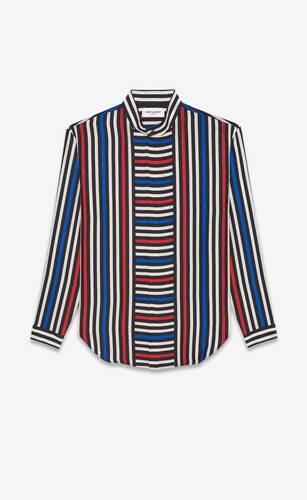 オーバーサイズシャツ(マット&シャイニーストライプシルク)