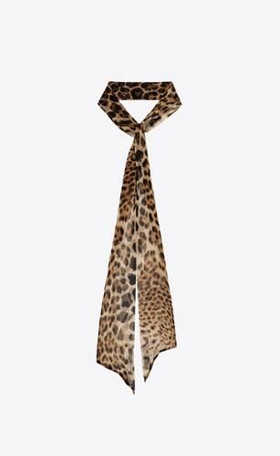 grande lavallière en mousseline de soie léopard