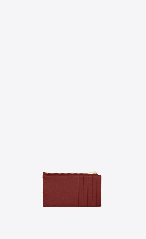 monogram fragments kartenetui aus gestepptem leder mit reißverschluss und grain-de-poudre-prägung