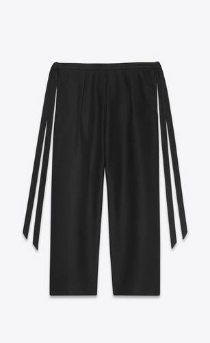 cropped hakama-pleat tied pants in linen and cotton