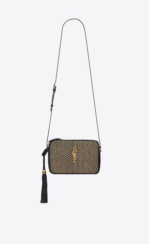 lou camera bag in raffia and smooth leather