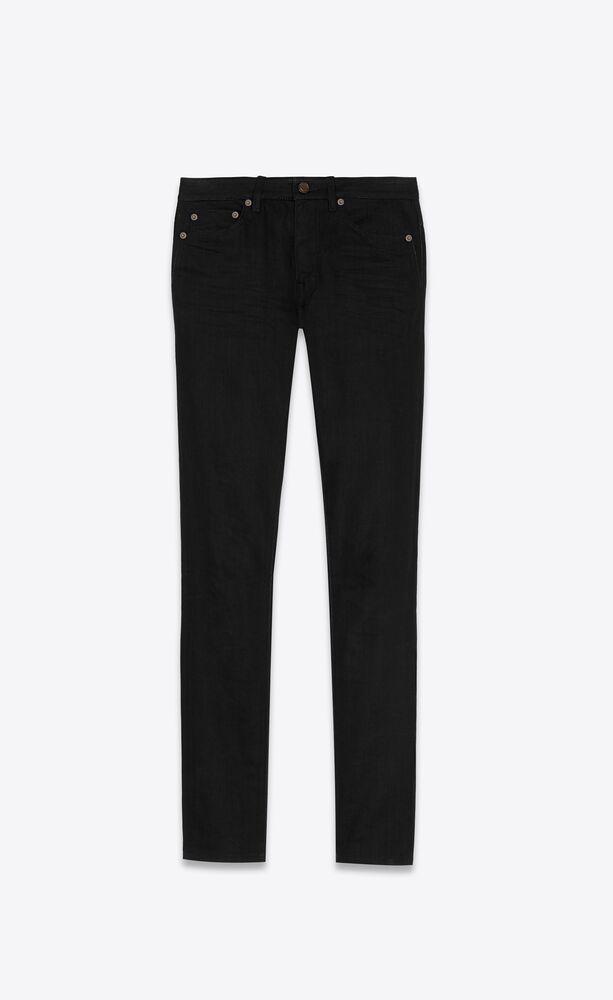 jeans skinny in denim effetto vissuto nero