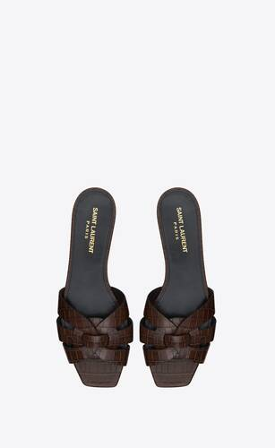 tribute mules in crocodile-embossed shiny leather