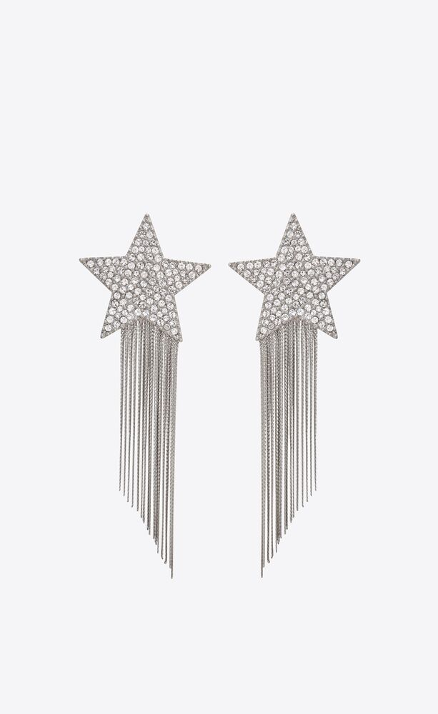 star earrings with brass chains
