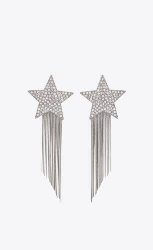 stars & love star earrings with brass chains