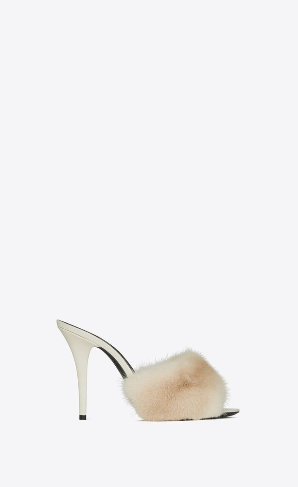 la 16 mules in smooth leather and mink