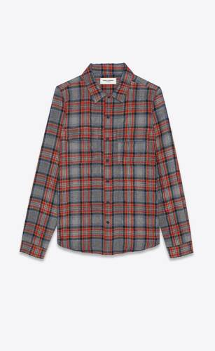 classic western shirt in checked cotton and wool