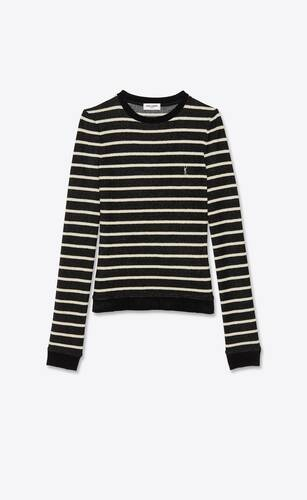 striped monogram sweater in ribbed velvet jersey