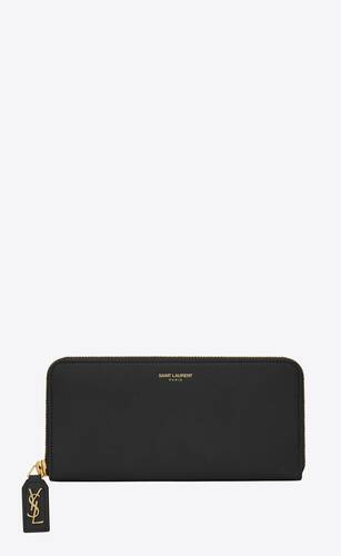 rive gauche zip-around wallet in grained leather