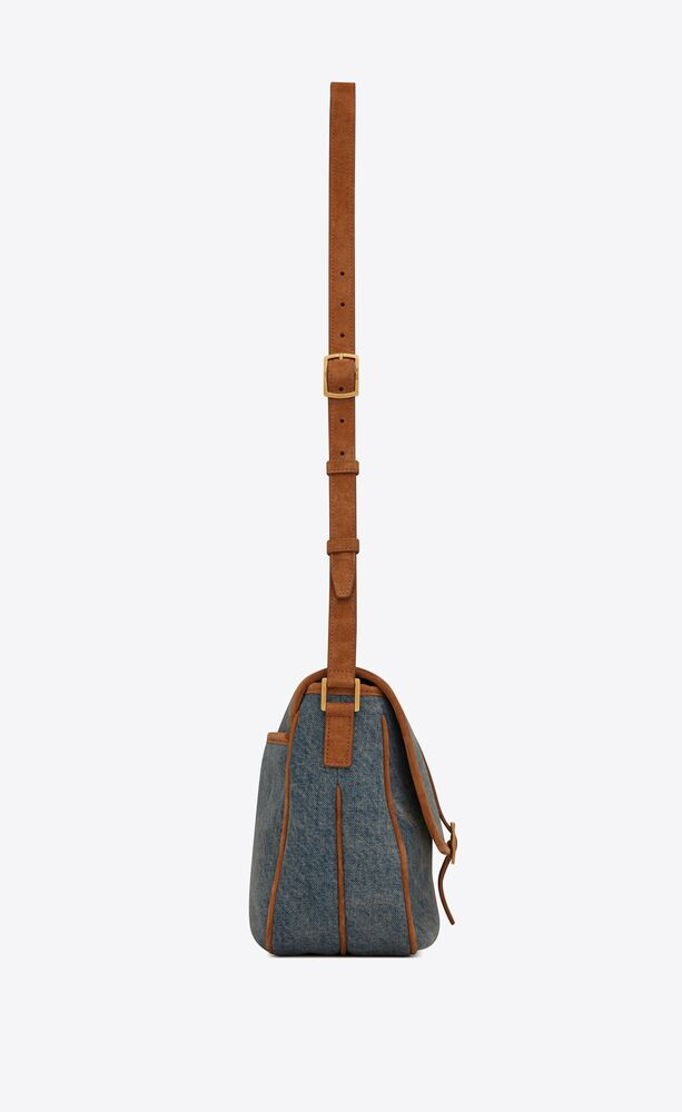 sorbonne flap bag in vintage denim and suede