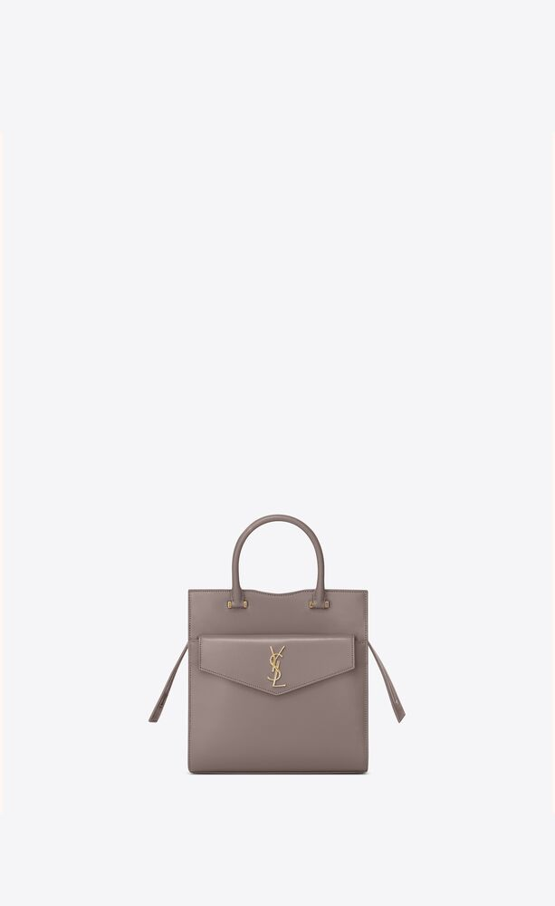small uptown tote in shiny smooth leather