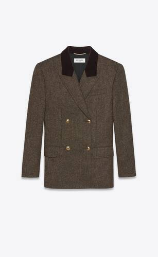 double-breasted jacket in mélange wool tweed
