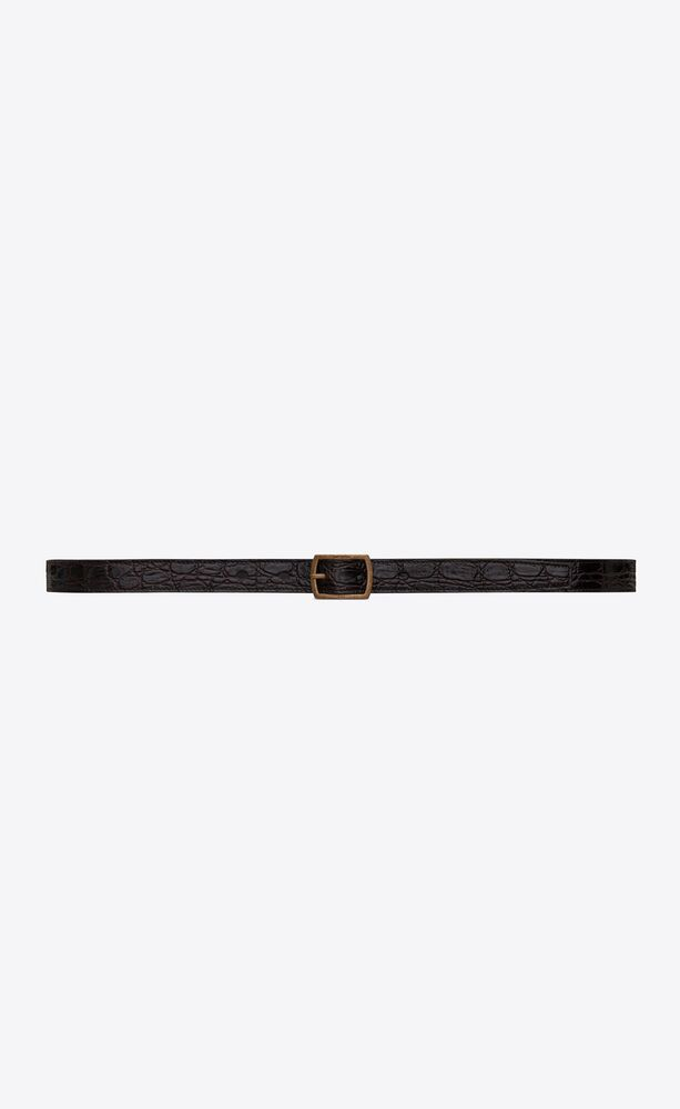 pavé buckle belt in crocodile-embossed leather