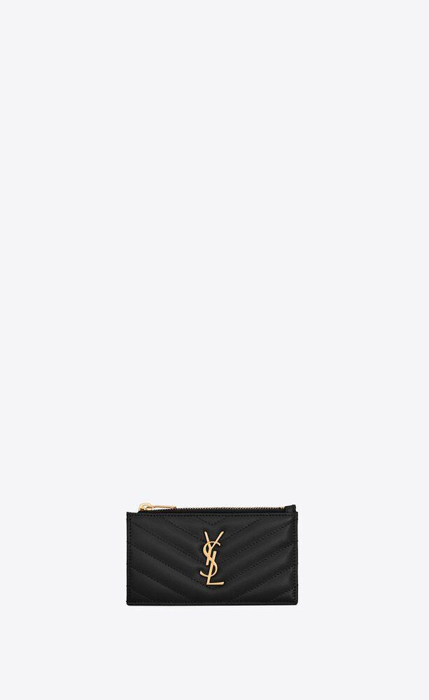 monogram fragments porte-cartes zippé en cuir embossé grain de poudre