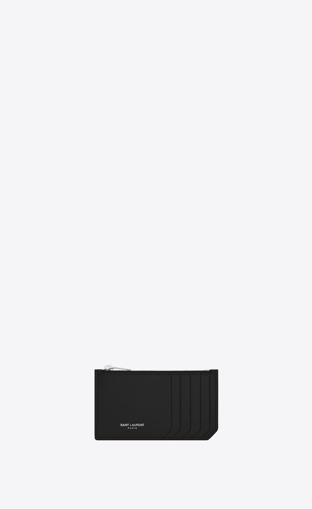 fragment zipped card case in grain de poudre embossed leather