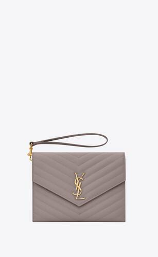monogram flap pouch in quilted grain de poudre embossed leather