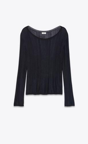 pullover mit weitem halsausschnitt aus gestreiftem lamé-strick
