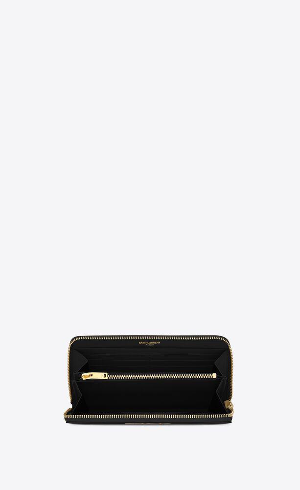 monogram zip around wallet in grain de poudre embossed leather