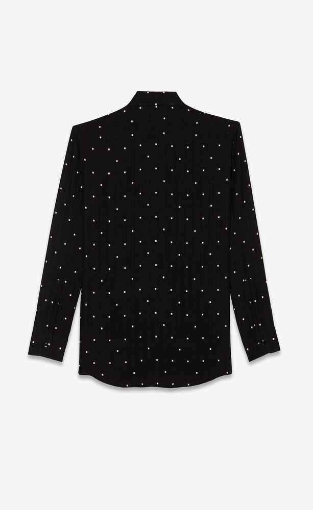 carré-dotted shirt in shiny and matte check silk