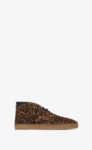 espadrillas stringate in suede leopardato