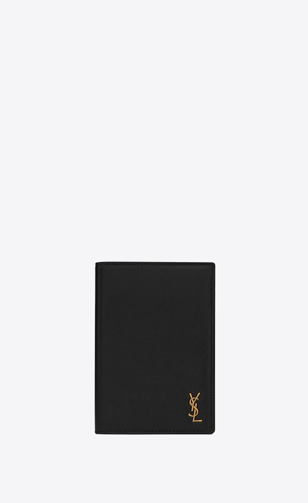 tiny monogram passport case in smooth leather