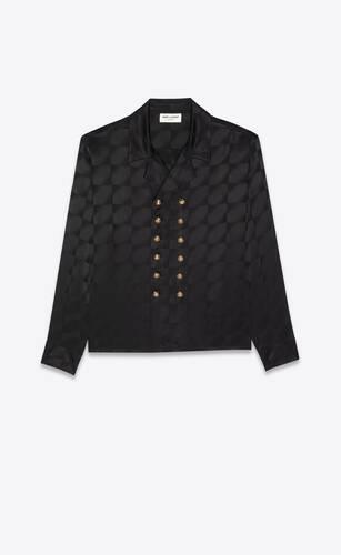 túnica con doble botonadura de seda mate y brillante