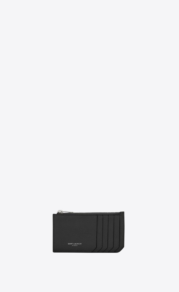 fragments zipped card case in grained leather