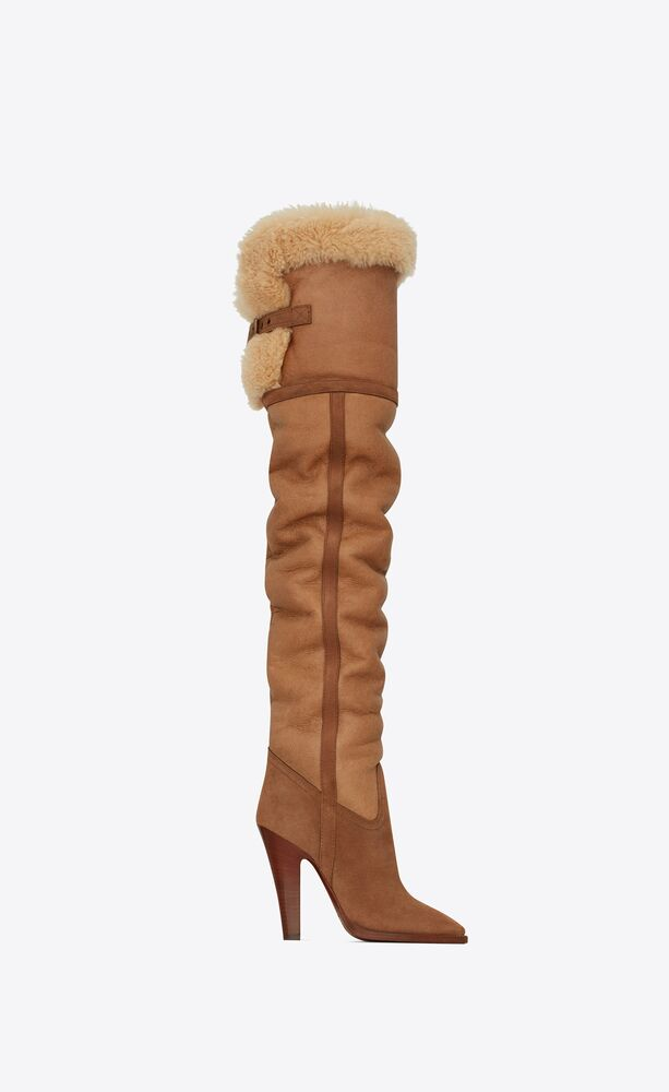 tomcat over-the-knee boots in leather, suede and shearling