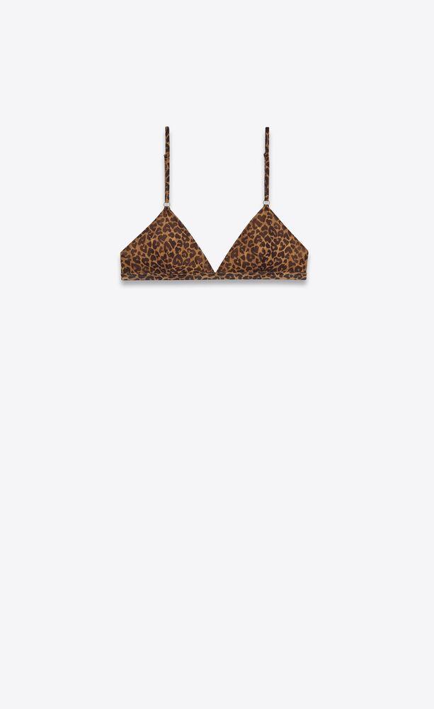 triangle bralette in heart-shaped leopard-print jersey tulle