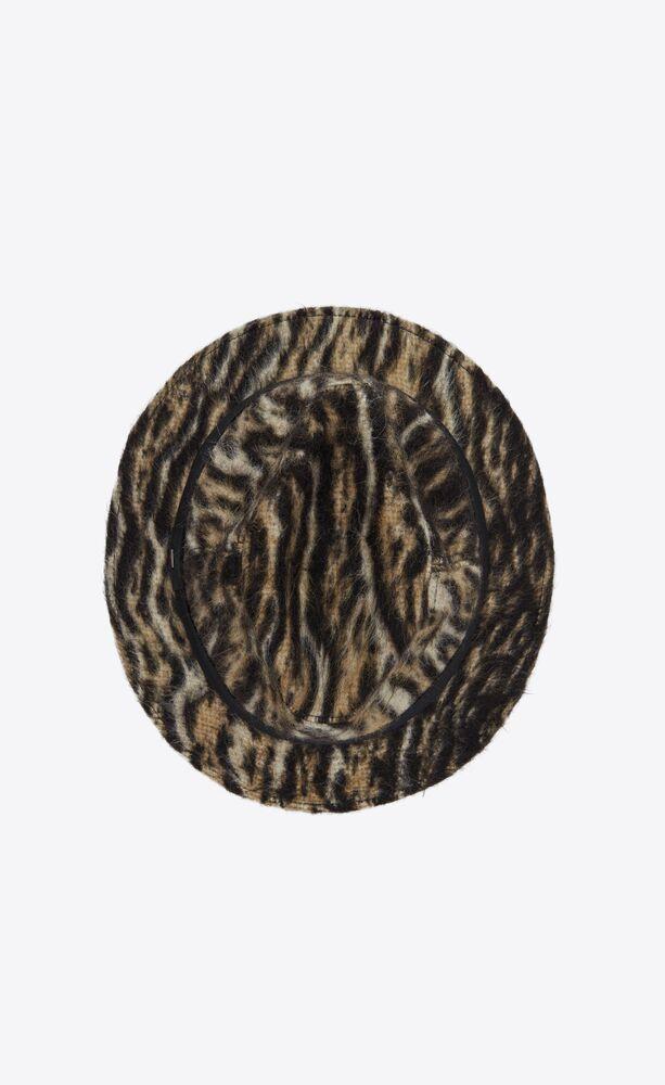 filzhut aus gebürstetem wollfilz mit ozelot-print