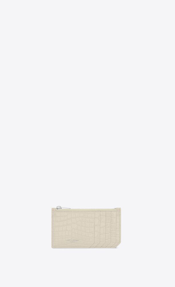 fragments porte-cartes zippé en cuir embossé crocodile