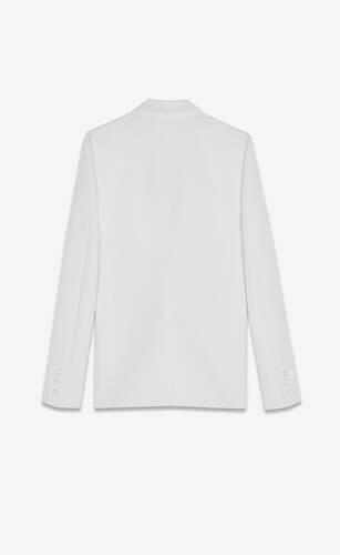 notched collar tuxedo jacket in grain de poudre saint laurent