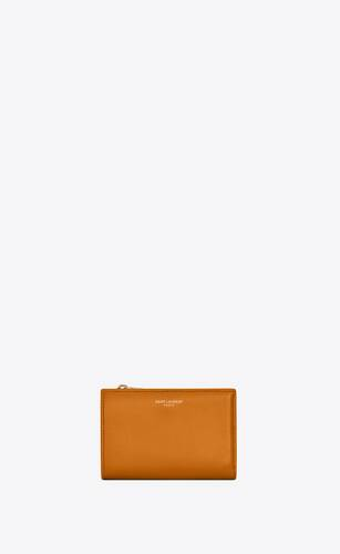 bi-fold zip wallet in matte leather
