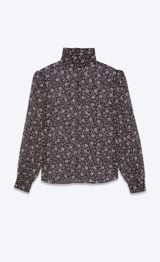 blouse transparente en georgette de soie fleurie