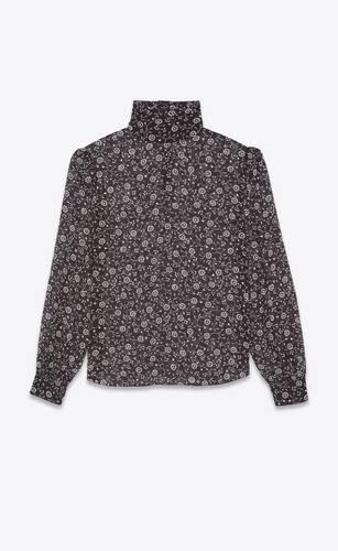 blusa trasparente in georgette di seta con stampa floreale