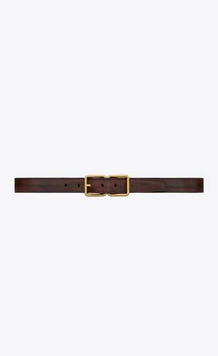 double buckle belt in aged raw leather