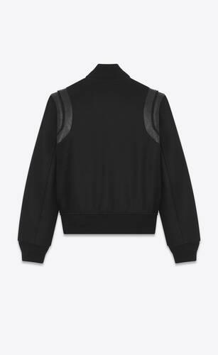 varsity jacket in black wool